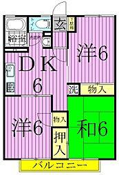 東京都足立区島根4丁目の賃貸アパートの間取り