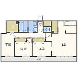 北海道札幌市中央区南二十条西12丁目の賃貸マンションの間取り