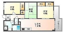 岡山県岡山市北区庭瀬の賃貸マンションの間取り