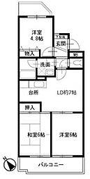 二俣川駅徒歩8分 ロイヤル二俣川B棟105号室[1階]の間取り