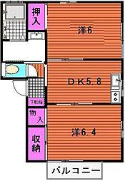 ルミエール八田[B203号室]の間取り