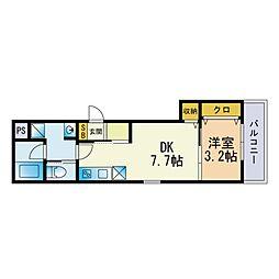 (仮称)和白東三丁目B棟新築アパート 3階1DKの間取り