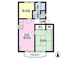 群馬県高崎市和田多中町の賃貸アパートの間取り