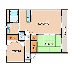 近鉄天理線 二階堂駅 徒歩2分の賃貸アパート 2階2LDKの間取り