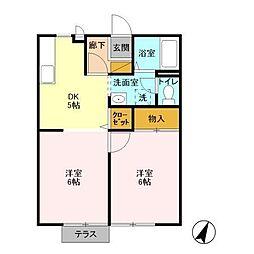 千葉県大網白里市みどりが丘3丁目の賃貸アパートの間取り