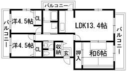 東山台ハイツ[4階]の間取り