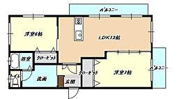 福岡県北九州市小倉北区上富野1丁目の賃貸マンションの間取り