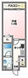 京阪本線 古川橋駅 徒歩14分の賃貸マンション 3階1Kの間取り