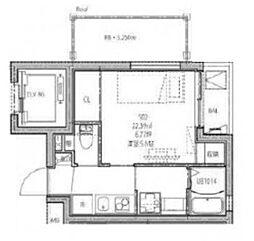 深川YKマンション 5階1Kの間取り