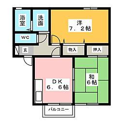 静岡県浜松市中区曳馬2丁目の賃貸アパートの間取り