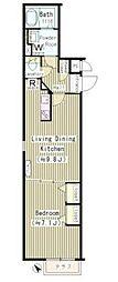 JR山手線 恵比寿駅 徒歩16分の賃貸マンション 1階1LDKの間取り