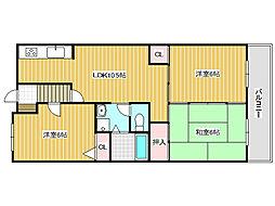 兵庫県明石市東人丸町の賃貸マンションの間取り