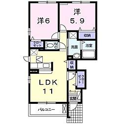 愛知県岡崎市森越町字城屋敷の賃貸アパートの間取り