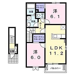 ラパンI 2階2LDKの間取り