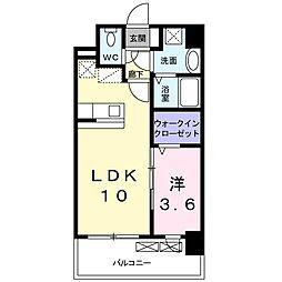 グランドクリーンヒット松田 2階1LDKの間取り