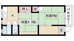 愛知県名古屋市南区道徳新町8丁目の賃貸アパートの間取り