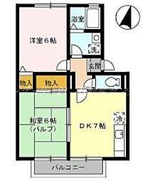 岡山県岡山市北区津高の賃貸アパートの間取り