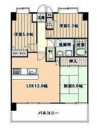 JR鹿児島本線 福工大前駅 徒歩10分の賃貸マンション 4階3LDKの間取り