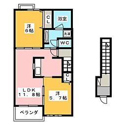 カーサアニュー[2階]の間取り