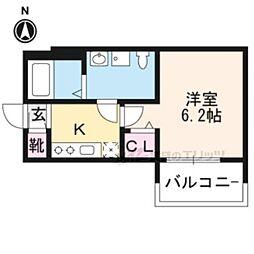 京都市営烏丸線 竹田駅 徒歩10分の賃貸アパート 3階1Kの間取り