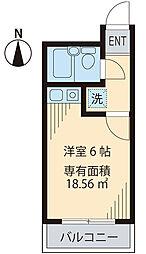 東京メトロ南北線 王子神谷駅 徒歩4分の賃貸マンション 5階ワンルームの間取り