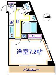 東京メトロ千代田線 北千住駅 徒歩8分の賃貸マンション 3階1Kの間取り