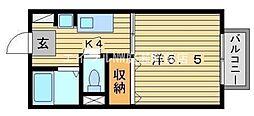 岡山県岡山市北区谷万成1の賃貸アパートの間取り