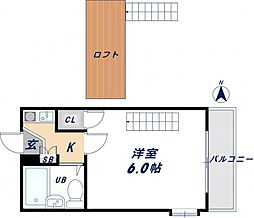 大阪府東大阪市若草町の賃貸アパートの間取り