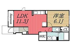北総鉄道 印西牧の原駅 徒歩28分の賃貸アパート 1階1LDKの間取り