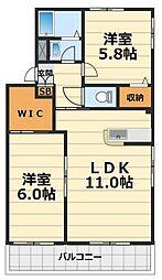 神奈川県大和市深見西8丁目の賃貸アパートの間取り