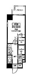 Osaka Metro堺筋線 扇町駅 徒歩8分の賃貸マンション 3階1Kの間取り