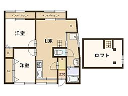 S-吉野5816 1階2LDKの間取り