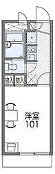 阪急箕面線 牧落駅 徒歩4分の賃貸アパート 2階1Kの間取り