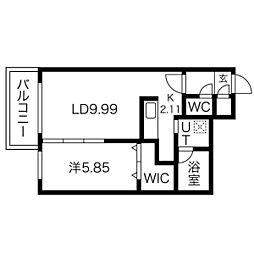 札幌市電2系統 西線11条駅 徒歩7分の賃貸マンション 2階1LDKの間取り