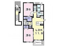 林アパートA 2階2LDKの間取り