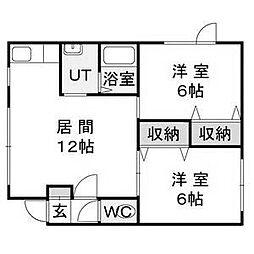 北海道札幌市南区藤野一条7丁目の賃貸アパートの間取り