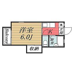 千葉県千葉市中央区椿森2丁目の賃貸アパートの間取り