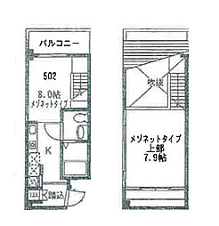 JR大阪環状線 福島駅 徒歩5分の賃貸マンション 5階1LDKの間取り