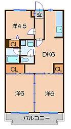 プレサージュ川崎(日当たり良好)[4階]の間取り