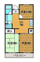 ディオール栄1[4階]の間取り