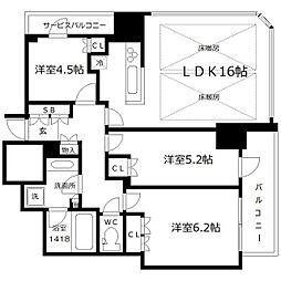 プレミストタワー大阪新町ローレルコート[5階]の間取り