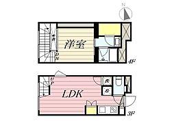 東京メトロ丸ノ内線 新宿三丁目駅 徒歩8分の賃貸マンション 3階1LDKの間取り
