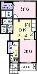 兵庫県姫路市岡田の賃貸アパートの間取り