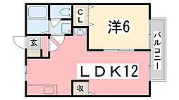 スカイハイツ 1階1LDKの間取り