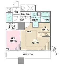 都営大江戸線 西新宿五丁目駅 徒歩7分の賃貸マンション 9階1LDKの間取り