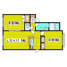 札幌市営東豊線 新道東駅 徒歩14分の賃貸アパート 1階2LDKの間取り