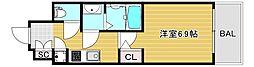 ファーストレジデンス大阪ベイサイド 11階1Kの間取り