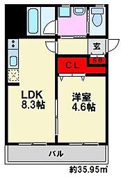J-PLACE大橋南[5階]の間取り