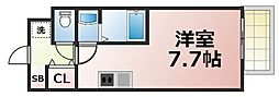 JR大阪環状線 鶴橋駅 徒歩4分の賃貸マンション 4階ワンルームの間取り