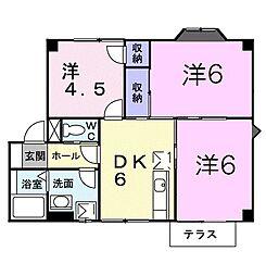 山口県下関市一の宮学園町の賃貸アパートの間取り